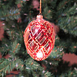 Clear Red Christmas Ornaments - 4.5""