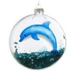 "4"" Dolphin Glass Disk Christmas Ornament"