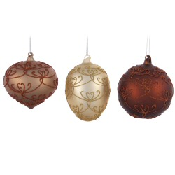 "5"" Seasons Splendor Glitter Ornaments - 6 asst."