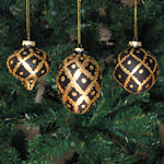 Gold & Black Christmas Ornaments - set of 3