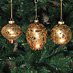 Gold & Platinum Christmas Ornaments - set of