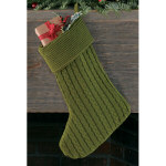 Green Knit Christmas Stocking 15""