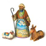 Shepherd with Donkey & Lamb Figurines - set of 3