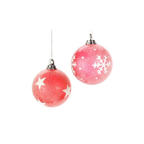 "2.5"" Red Frosted Ball Ornaments - Set of 6"