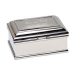 "6"" Quincy Nickel Plated Rectangular Jewelry Box"