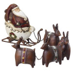 Santa in Sleigh with Reindeer Figurine - 5pc set