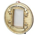 "3.25"" Personalized Salute Photo Frame Ornament"