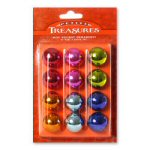 "1"" Petite Treasures Metallic Ball Ornaments - 12"