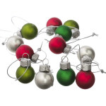 Mini Multicolor Ball Ornaments - set of 12 - 1""