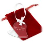 "2.75"" Personalized Glass Bell Ornament with Ribbon"