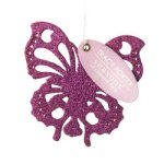 "9.25"" Pink Glitter Butterfly Favor Ornament"