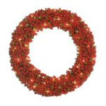 "Lighted Red Berry 24"" Wreath"