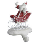 Santa in Sleigh Stocking Hanger - 8""