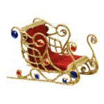 "4"" Red & Blue Gold Jewel Sleigh Ornament"