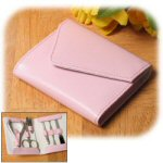 "4.5"" Pink Leather Foldover Travel Manicure Set"