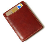 "3.75"" Brown Leather Credit Card Holder/Money Clip"