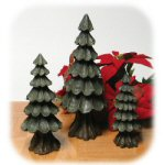 Carved Wood Trees - Set of 3
