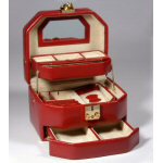 Red Leather Auto Open Jewelry