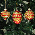 Gold & Red Christmas Ornaments - set of 3