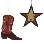 "Cowboy Boot & Star Ornaments - 6"" - set of 2"