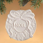 "3.5"" Currant Leaf Porcelain Noel Ornament"