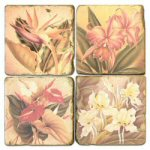 Tropical Flowers Coasters - Set of 4